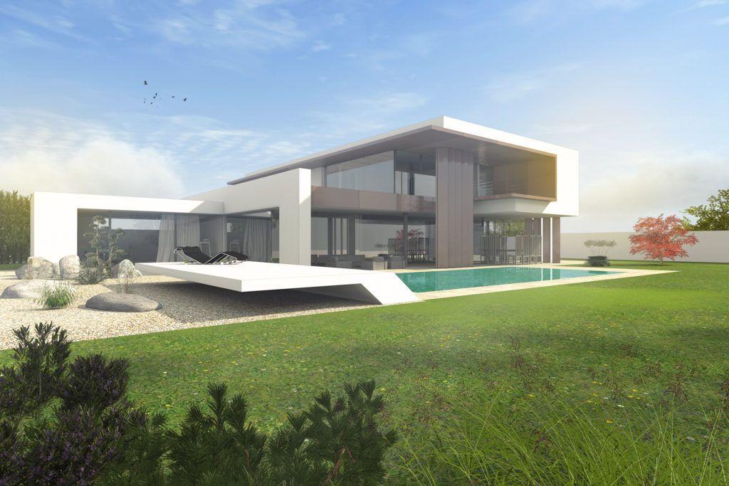 architektenhaus flachdach mit staffelgeschoss dachterrasse architektur. Black Bedroom Furniture Sets. Home Design Ideas