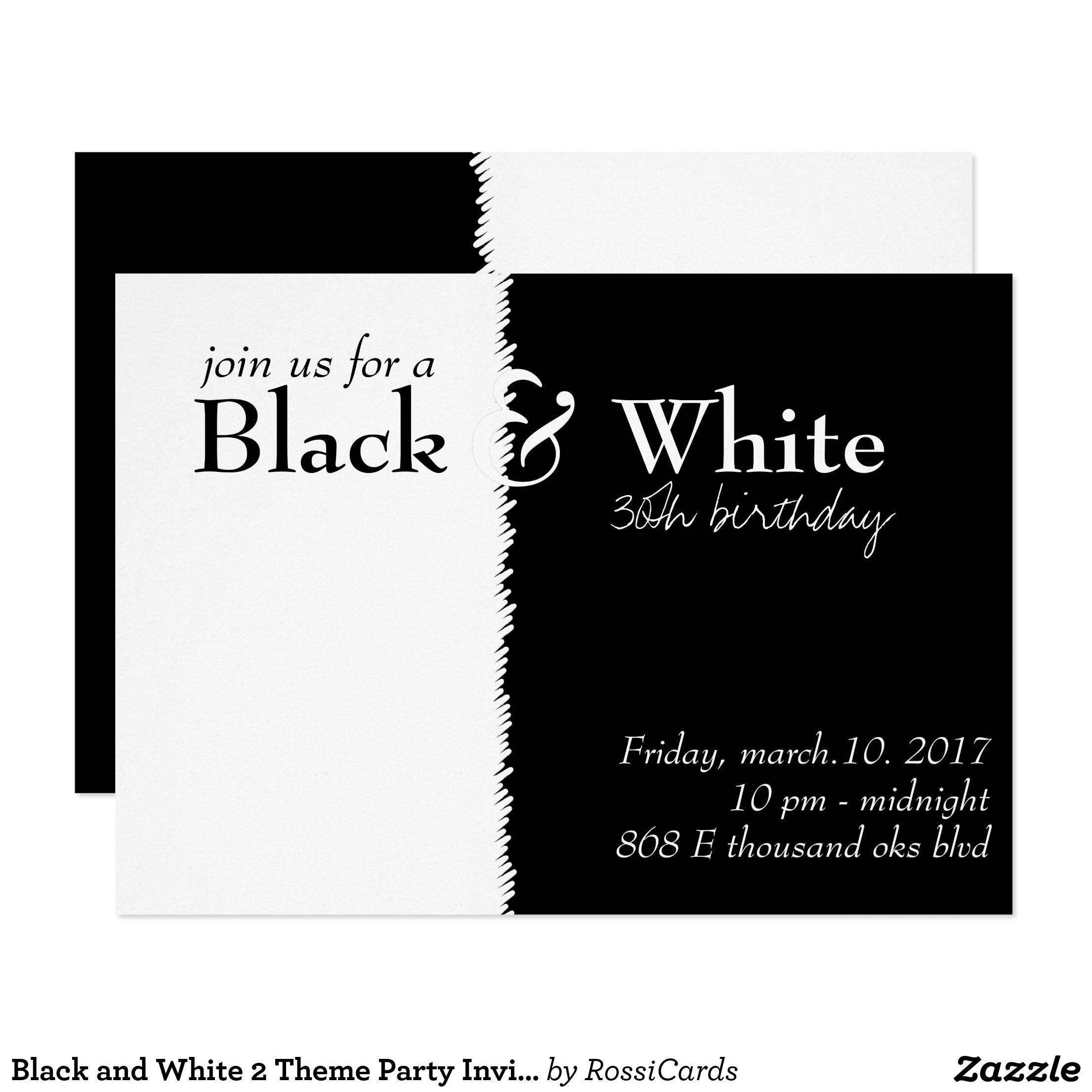 Black and White 2 Theme Party Invitation