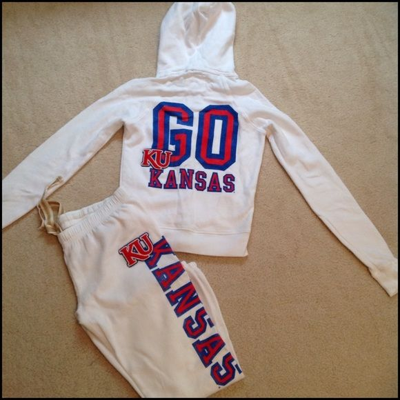 "Victoria's Secret PINK Kansas Sweats Kansas hoodie and sweatpants set from the PINK collegiate collection. Top is XS, bottoms are S. 60% cotton, 40% polyester. Inseam on pants is 24"" and ankles are banded. Worn once. PINK Victoria's Secret Other"