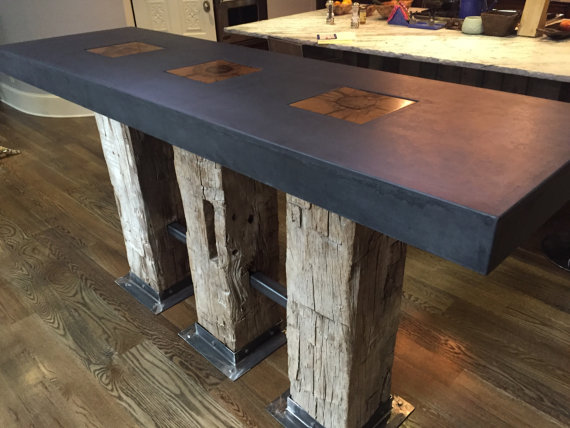 Modern Kitchen Island In Denver Concrete And Timber Concrete