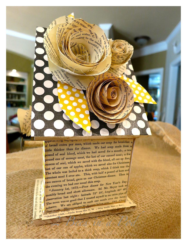 Scrapbook paper books - Decorative Birdhouse Using Scrapbook Paper Antique Book Pages And Mod Podge