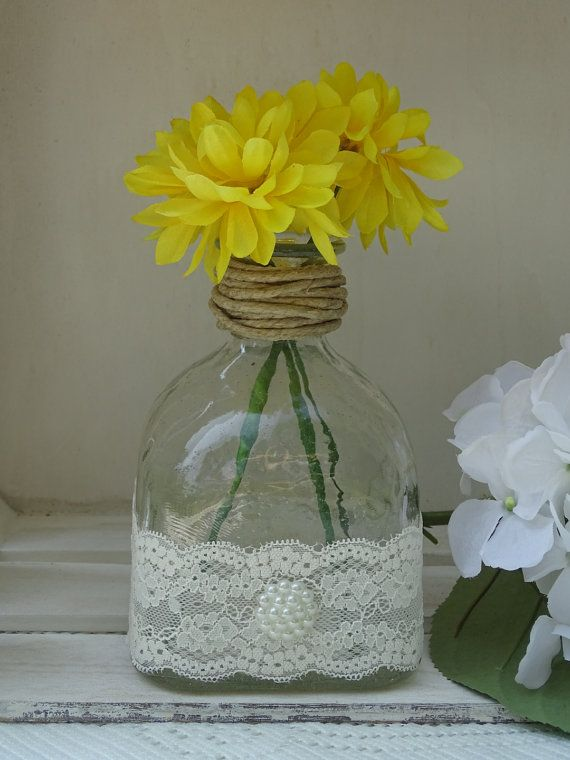 Patron Bottle Vase With Twine Lace And Pearls Barbara