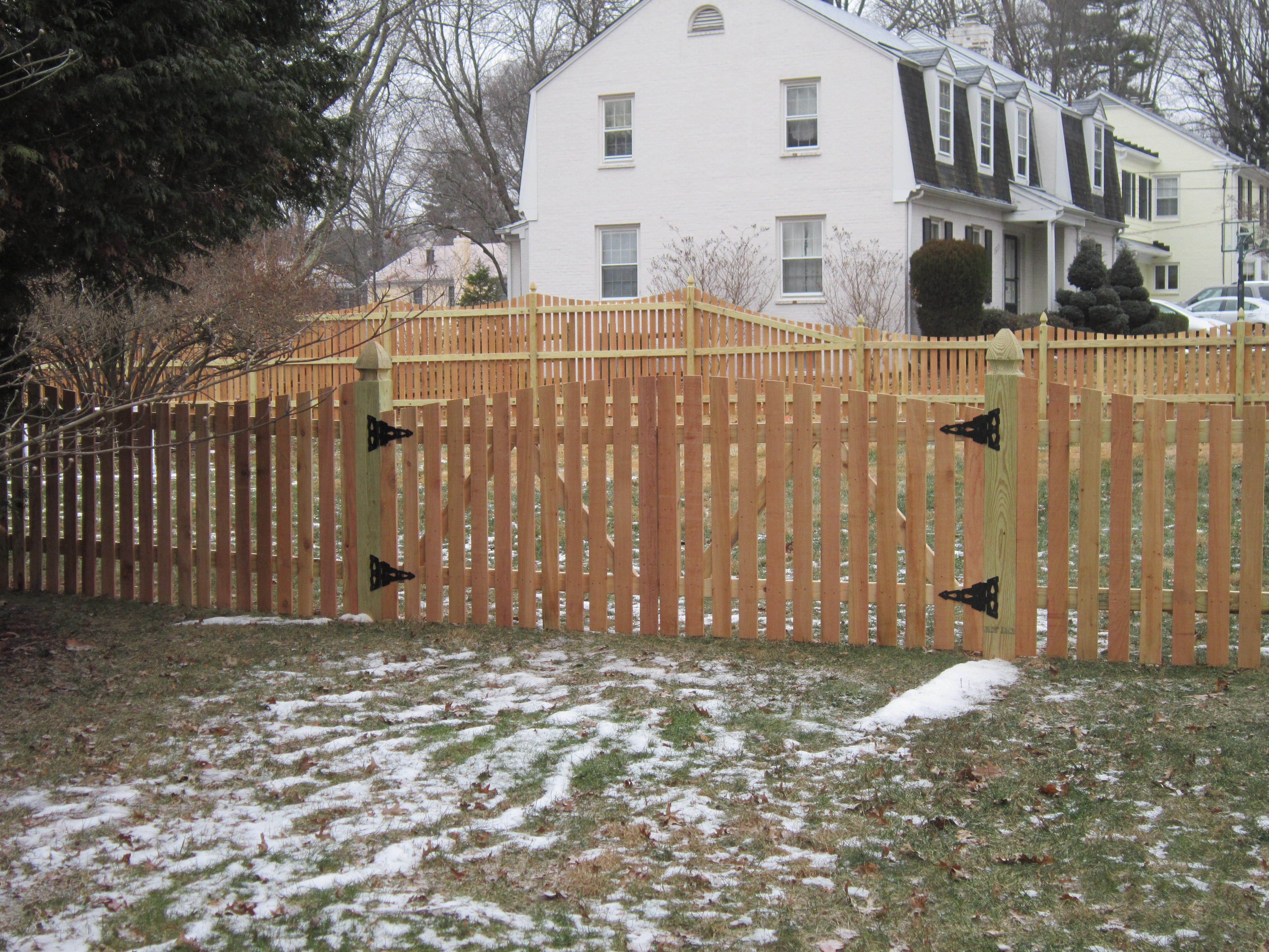 White vinyl picket fence w double gate for the home pinterest wood spaced picket fence with arch double gates baanklon Gallery