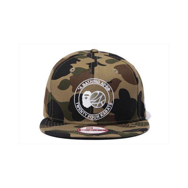 8117c69a76f BAPE x 24KARATS 1ST CAMO NEW ERA CAP ( 100) ❤ liked on Polyvore featuring  accessories