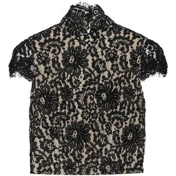 Alice + Olivia Marcy open-back embellished lace top (€600) ❤ liked on Polyvore featuring tops, blouses, black, open back lace top, beaded lace top, black lace top, lacy tops y crop top