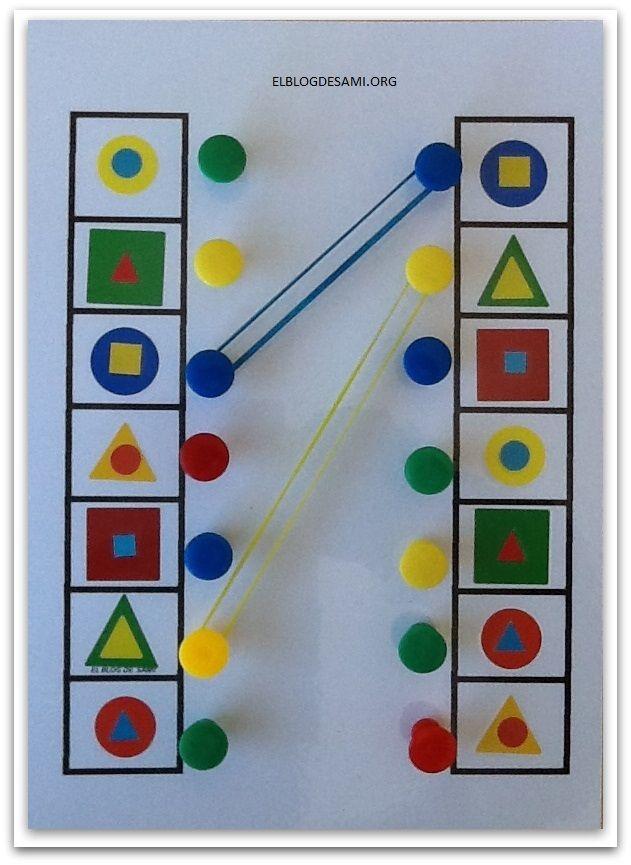 Percepción Visual Unir Figuras Iguales Con Gomas Elásticas Actividades Montessori Manualidades Preescolar Actividades Para Preescolar