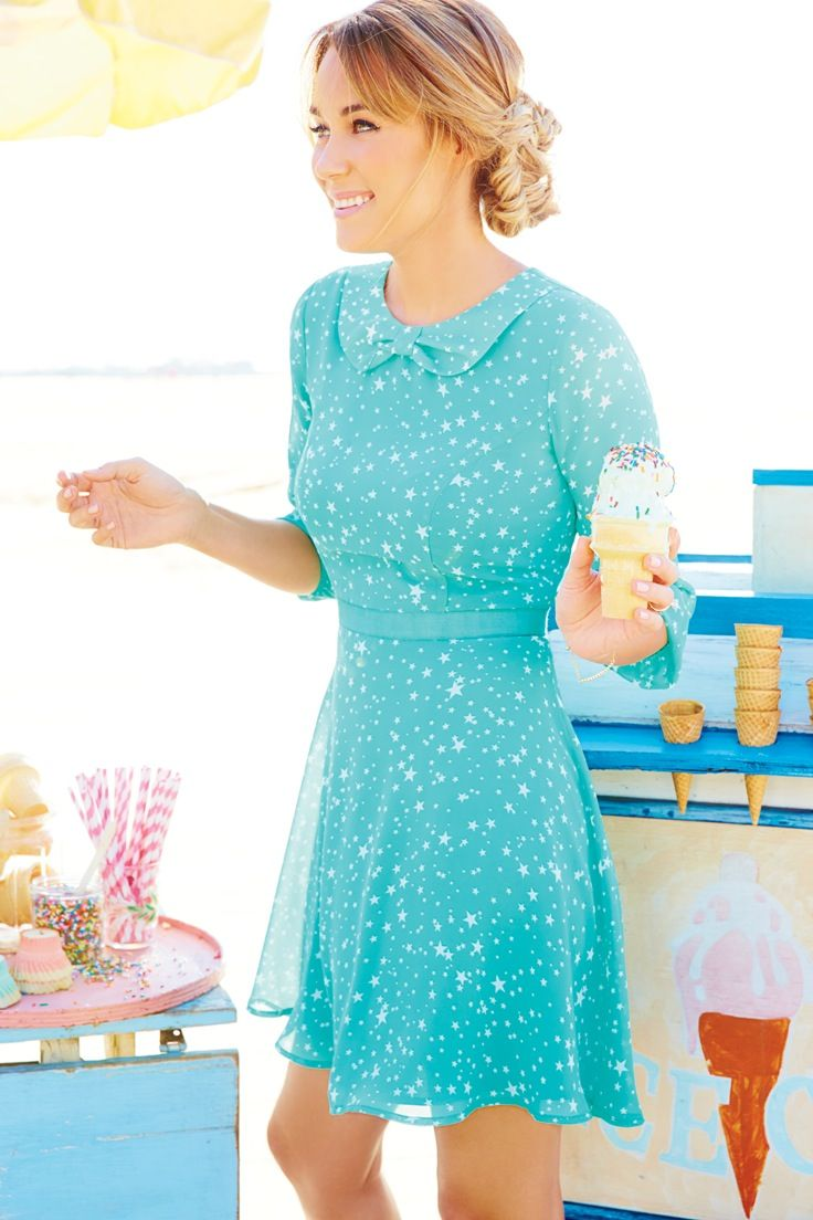 With its star-sprinkled pattern, this pretty chiffon dress is a ...