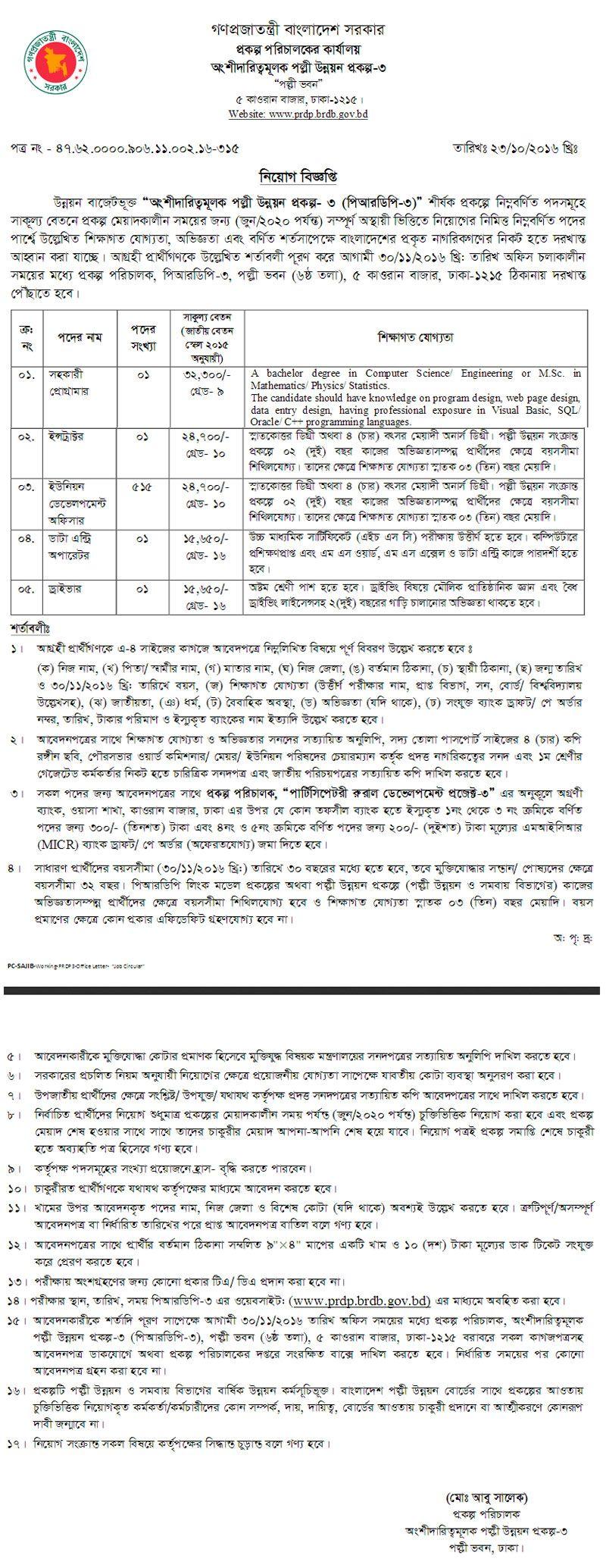 519 Vacancy Bangladesh Rural Development Board Job