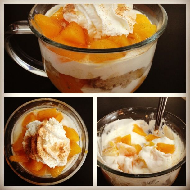 """Hungry Girl's peaches and cream oatmeal parfait. I suspiciously tried this because it sounded weird to mix cold cooked oatmeal with layers of yogurt and fruit. Boy was I ever wrong! This was GOOD STUFF! For the recipe go to my """"Recipes I Want to Try"""" board."""