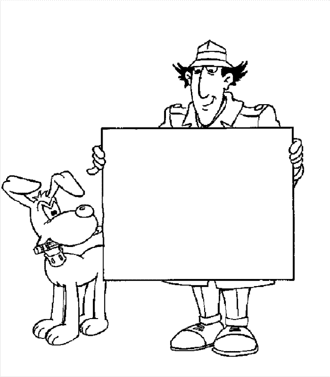 gadget boy coloring pages   Inspector Gadget Holding A Large Sheet Of Paper ...