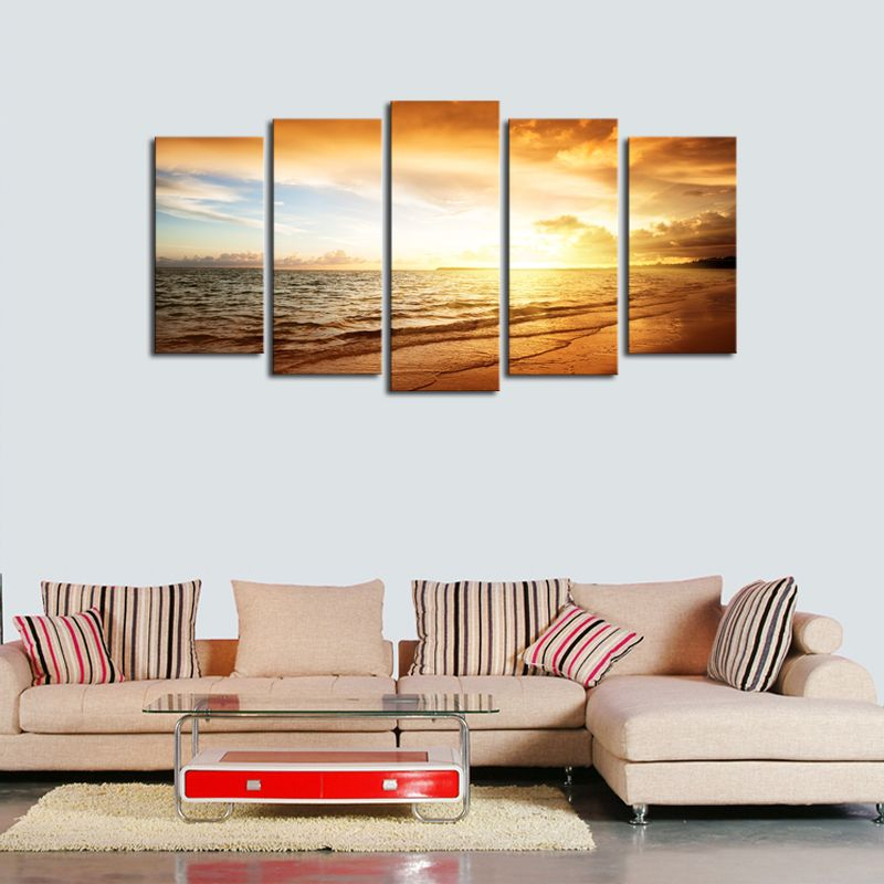 Unframed 5 Panels Sunset Seaview Scenery Picture Print Painting