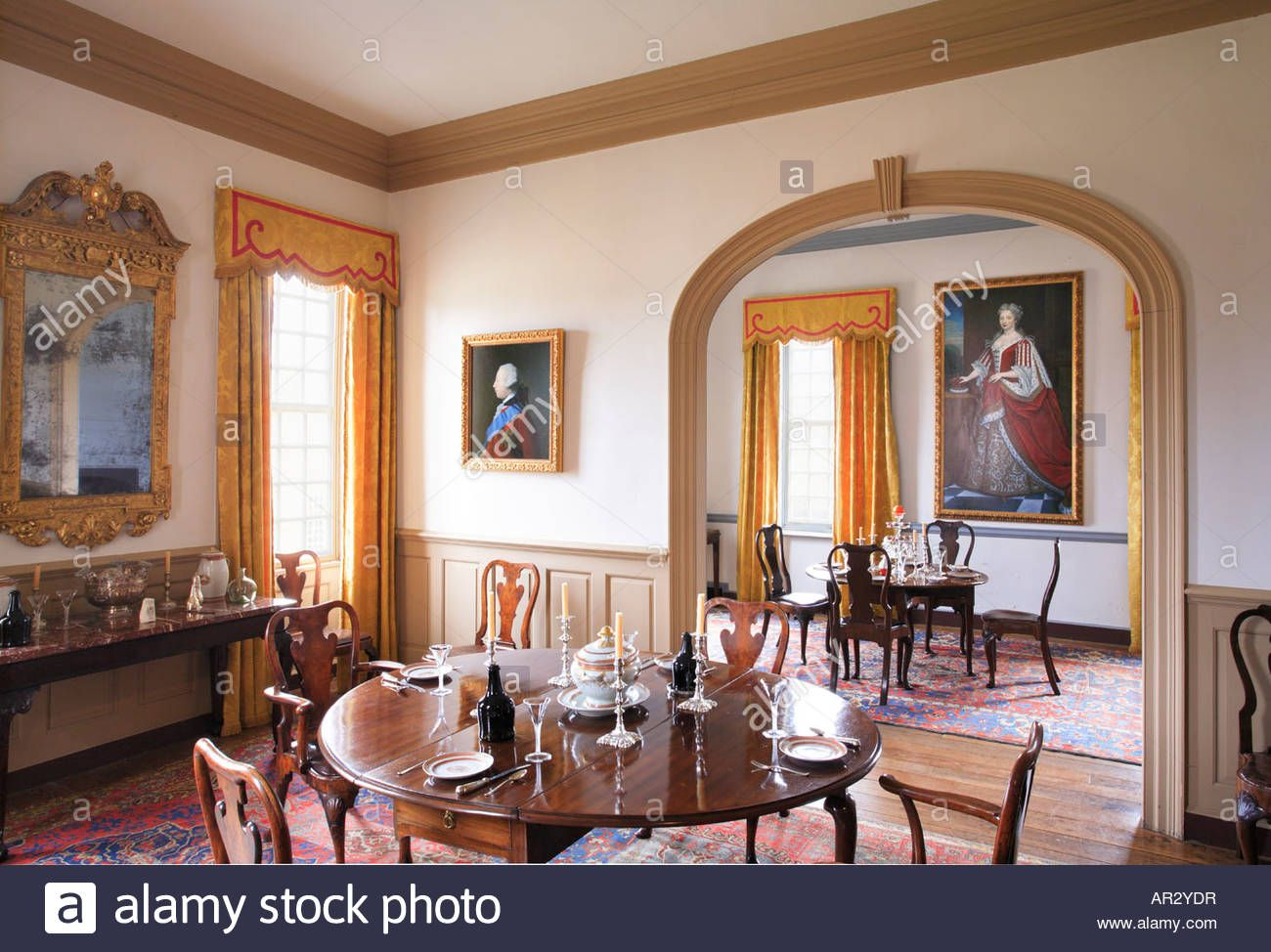 Dining Room At Birthplace Of Robert E. Lee   Stratford Hall Stock .