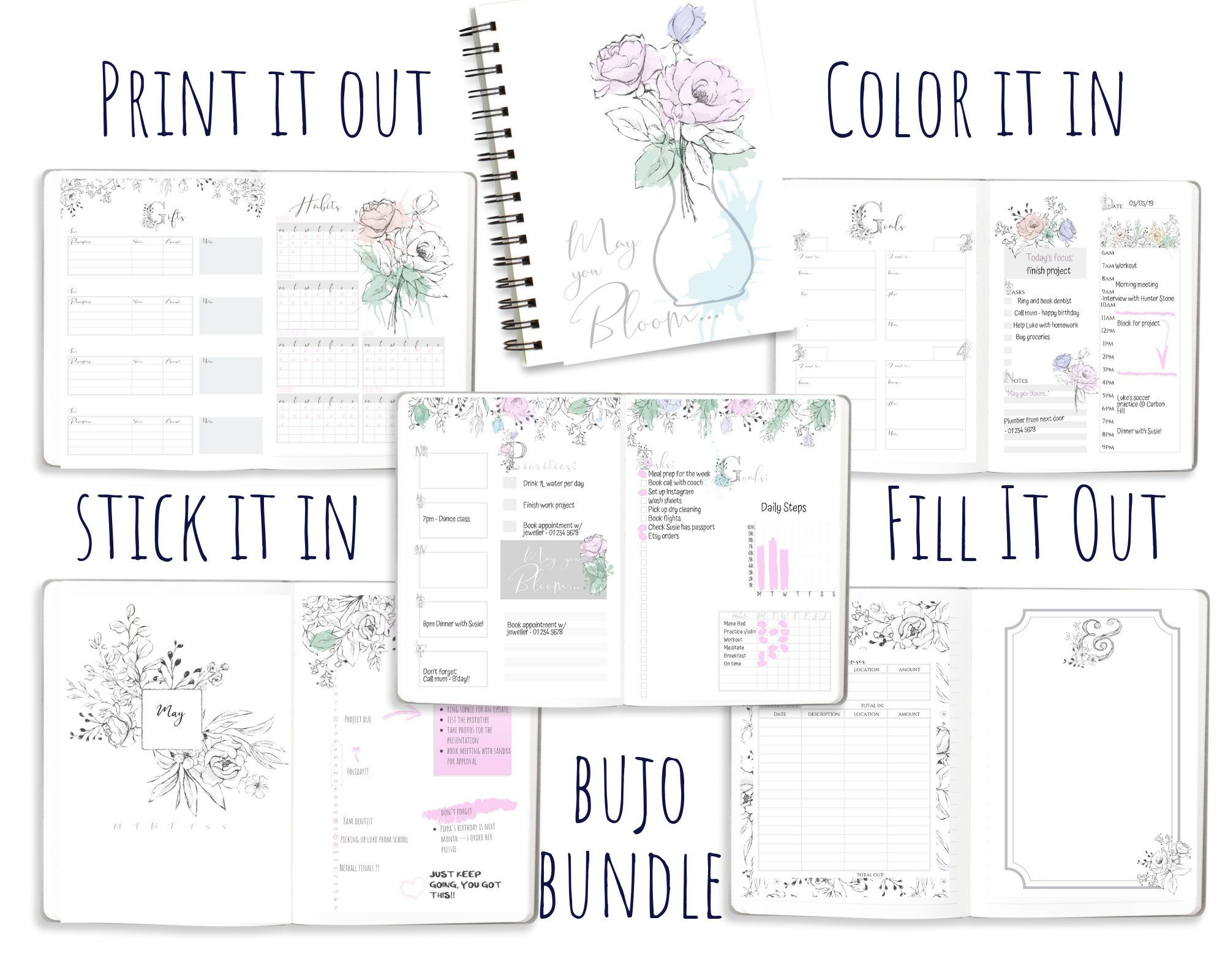 Undated Printable Bullet Journal Template Planner Pdf Calendar Bundle May You Bloom Coloring Pages Bullet Journal Printables Journal Printables Bullet Journal