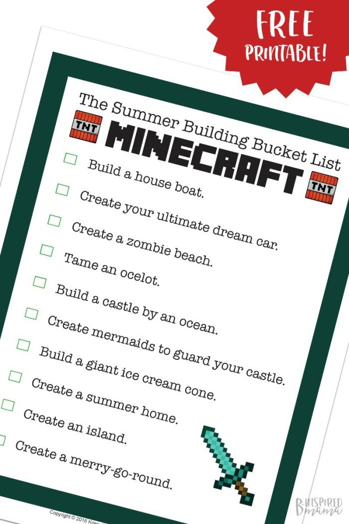 Free Printable Minecraft Building Ideas To Fill The Rest Of Summer Break Summer Activities For Kids Business For Kids Craft Activities For Kids