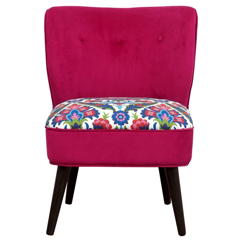 Curved Back Slipper Chair - Pink / Print - Boho Boutique, Dark Red