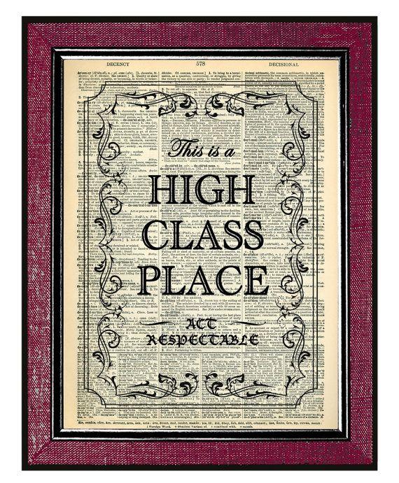 HIGH CLASS PLACE Wall Decor Dorm Decor Book Art By
