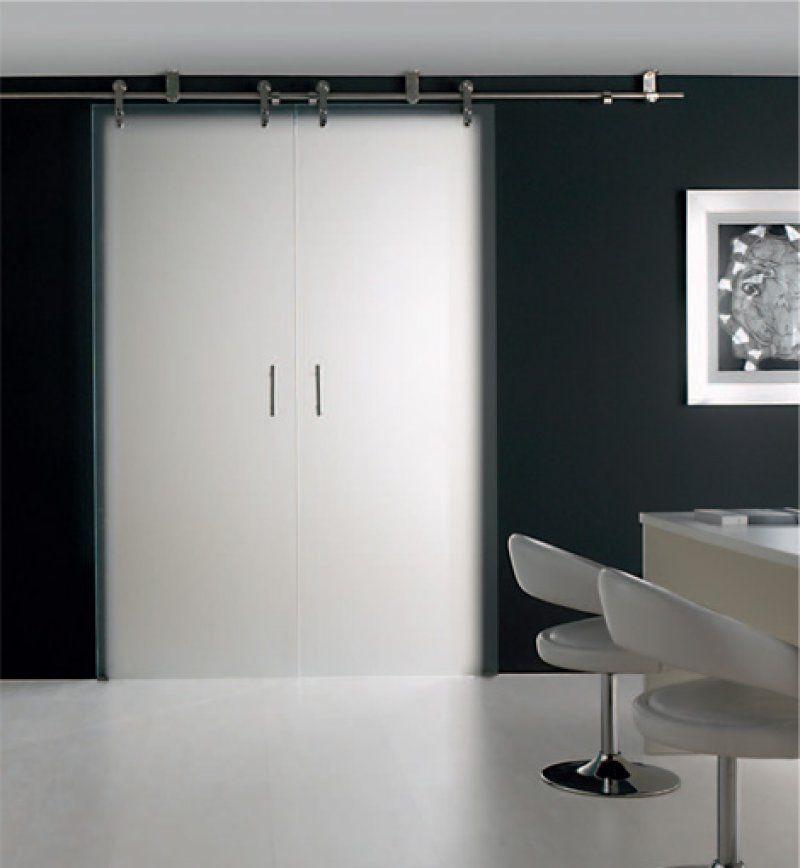 Puerta doble con cristal mate , herraje de acero inox | Cocinas ...