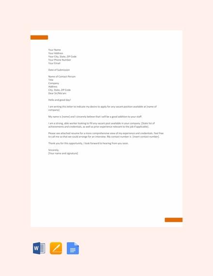 Job Application Letter For Vacancy Google Search Application Letter Template Simple Application Letter Application Letters