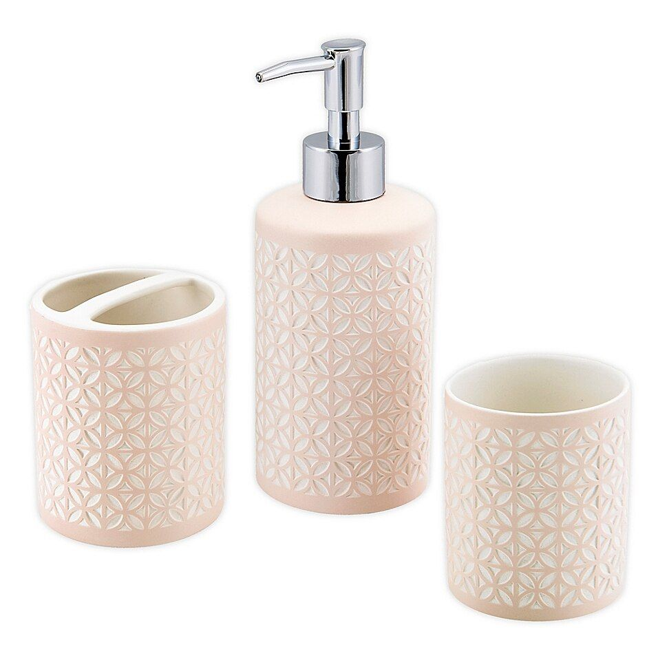 Felix 3 Piece Bath Accessory Set In Pink In 2020 Bath Accessories Accessories 3 Piece