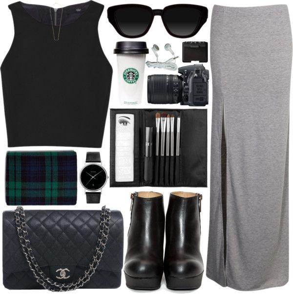 grey maxi skirt + crop top