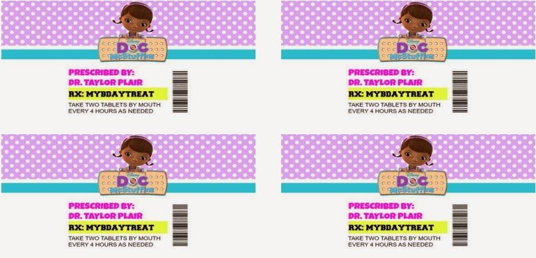 Printable Pill Bottle Labels Doc Mcstuffins Birthday Party Avery