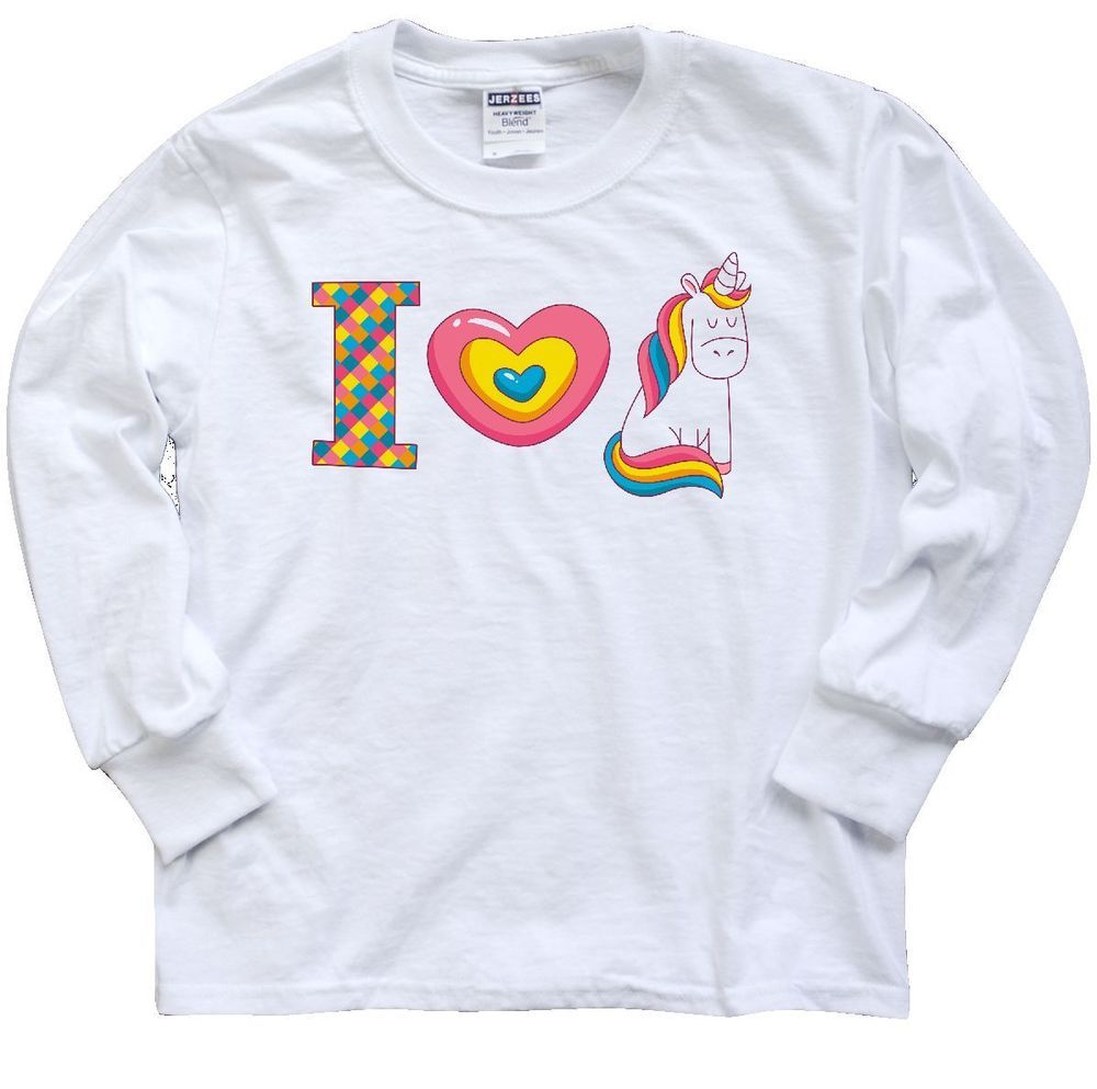 d497ea9a3 Inktastic I Love Unicorns Youth Long Sleeve T-Shirt Heart Believe In Cute  Magic #