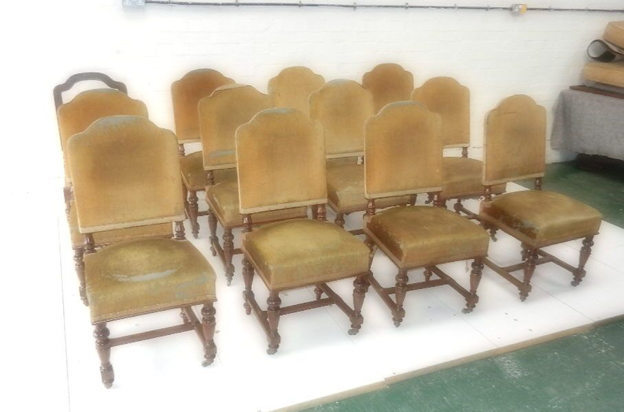 Super quality set of twelve original Victorian dining chairs with arched  upholstered backs and stuff over - Super Quality Set Of Twelve Original Victorian Dining Chairs With