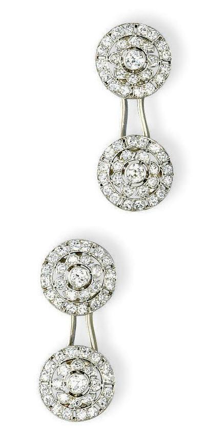 A Pair Of Art Deco Diamond Cufflinks By Van Cleef Arpels