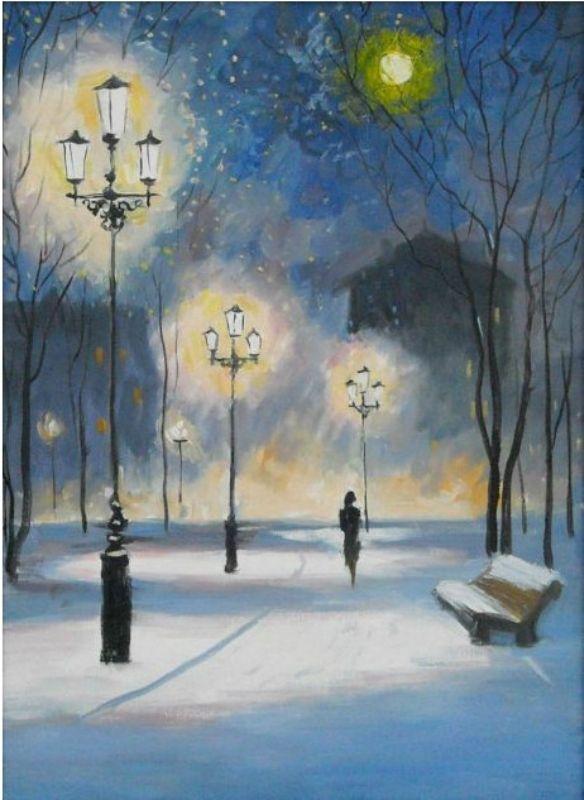 вечерний зимний город картинки нарисовать камнеломки