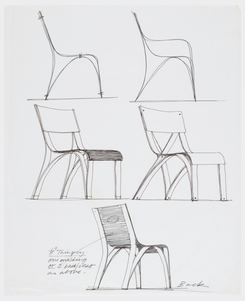 Five Designs For A Plywood Chair Showing Two Alternative Side Elevations Two Alternative Pers Interior Design Sketches Furniture Design Sketches Design Sketch
