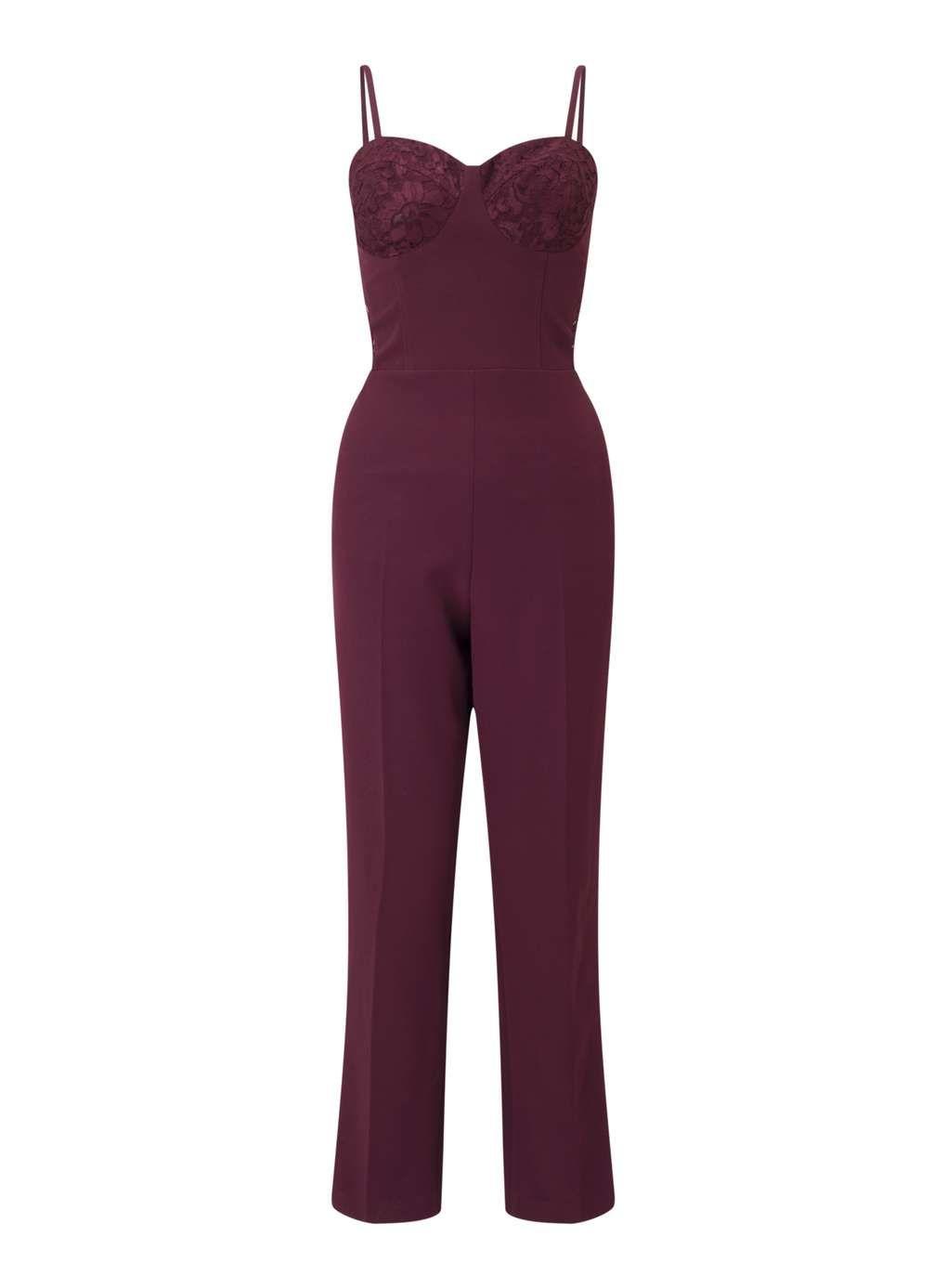 d47c8c60ecc Burgundy Lace Corset Jumpsuit - Going Out Dresses - Dress Shop ...