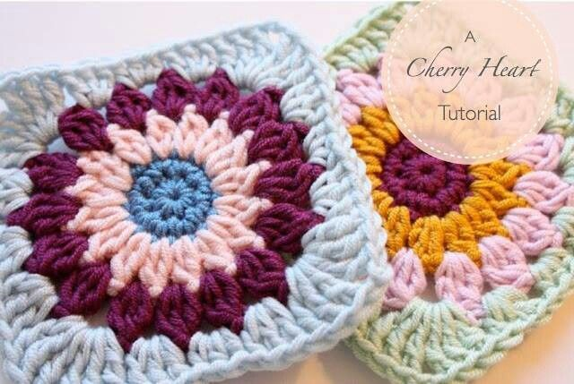cherry heart crochet granny square   Granny circle to square - Cherry heart tutorial