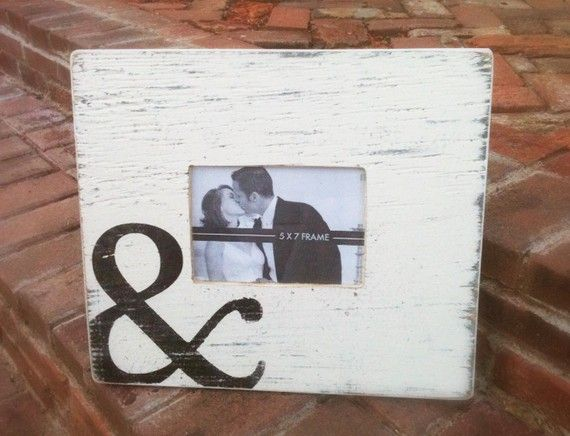 Ampersand picture frame for a new couple. | Gift Ideas | Pinterest ...