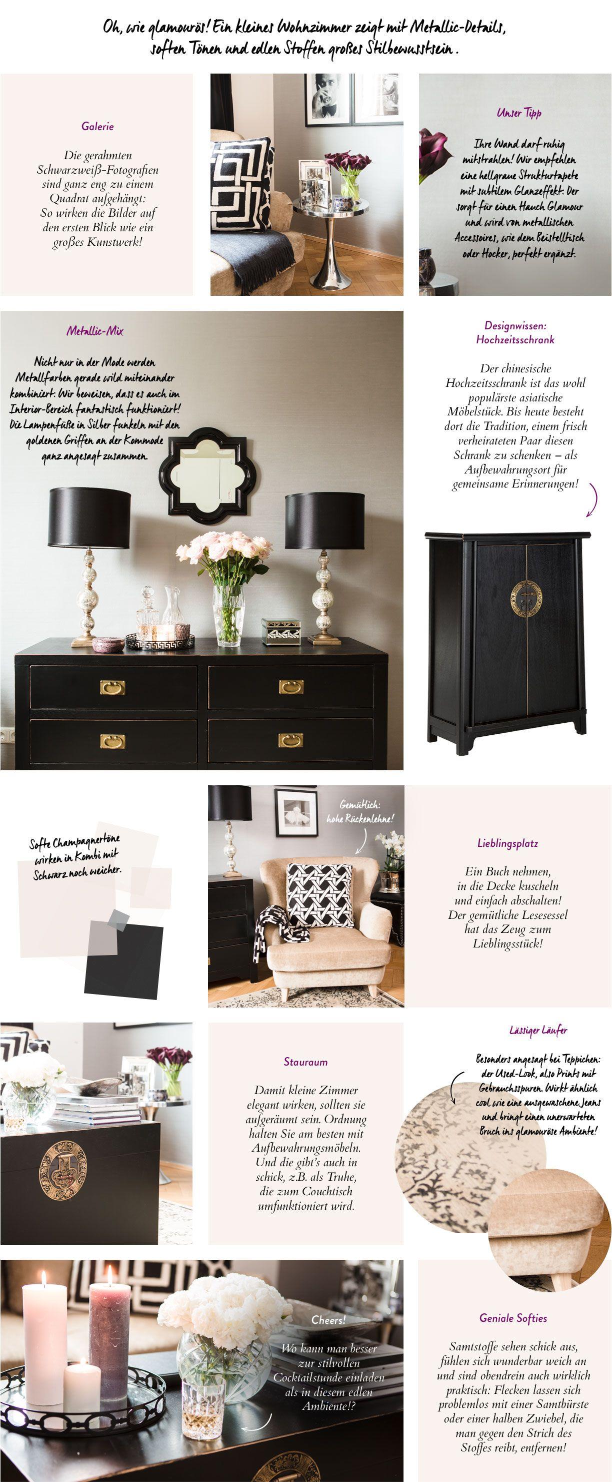 Kleines Wohnzimmer, Salon, Edel, Grau, Schwarz, Gold, Champagner, Rosa