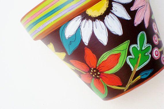 Hand Painted Planter Terracotta Flower Pot 4 by ThePaintedPine, $20.00