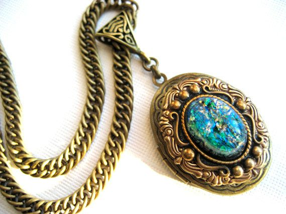 search turquoise delovelyshop valentine photo opal necklace vintage locket beda lockets patina