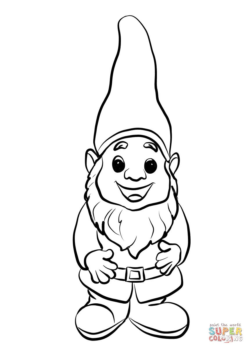 Cute Gnome Coloring Page Free Printable Pages Beautiful