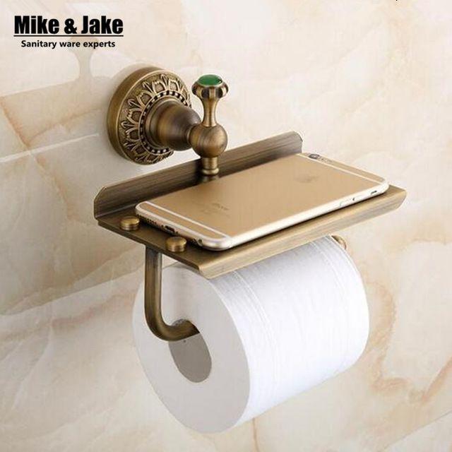Photo of Online Shop Antique brass bathroom paper phone holder with shelf bathroom Mobile phones towel rack toilet paper holder tissue boxes | Aliexpress Mobile