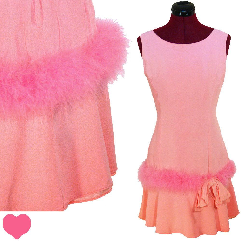 Dress Vintage 60s PINK Mod Marabou FEATHER Cocktail PARTY Dress S M ...