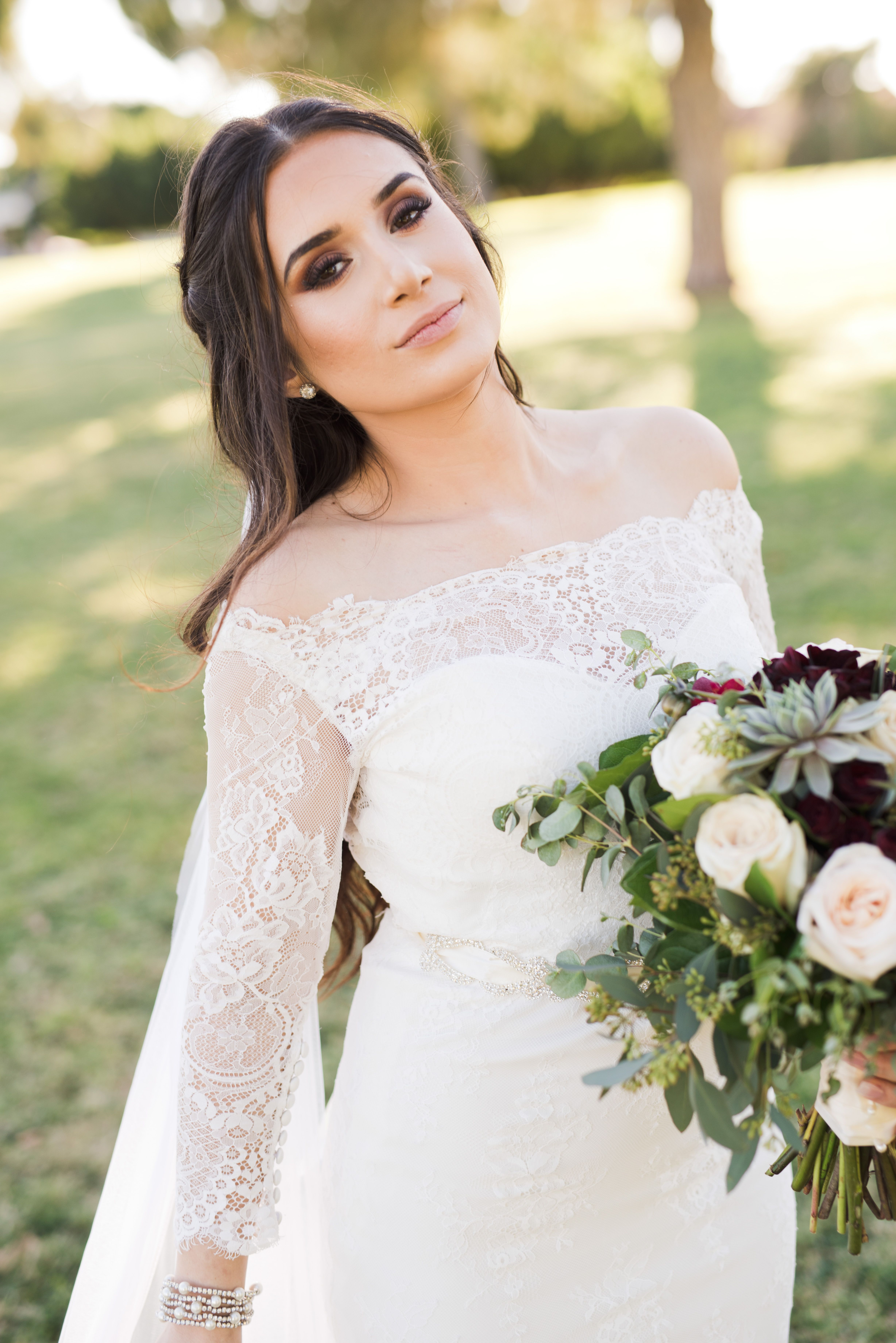 Fall outdoor wedding dresses  Beautiful off the shoulder bridal dress  Arizona Wedding