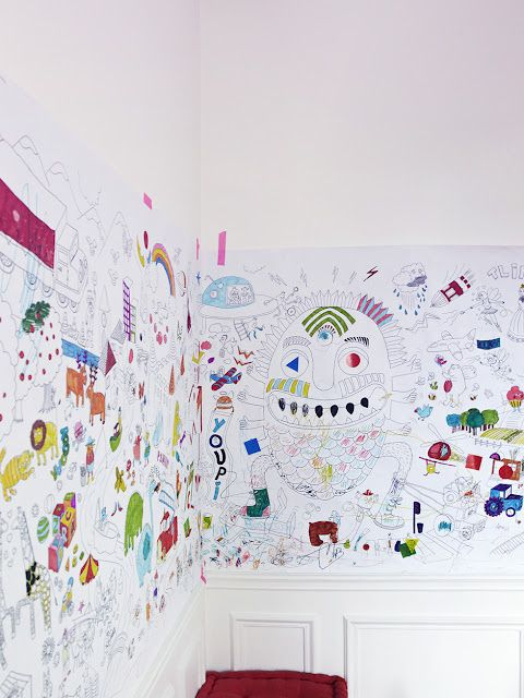 draw a crazy mural with a sharpie - kids can color on it over time ...