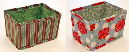 DIY collapsible baskets from cardboard boxes