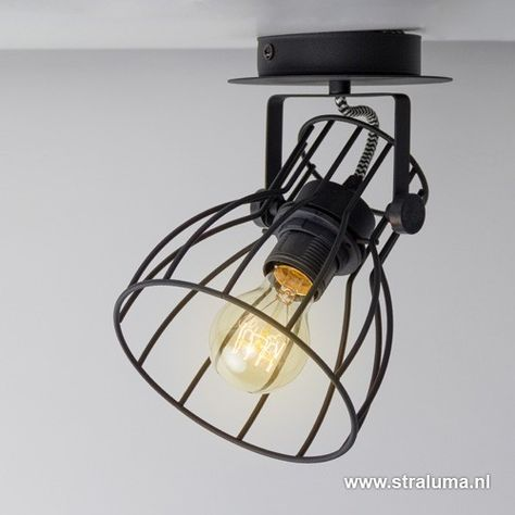 Zwarte plafondlamp-spot industrie draad - www.straluma.nl ...