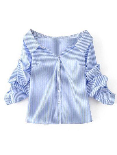 0e96199a5e5a45 Off Shoulder Single Breasted Blouse Collar Blouse