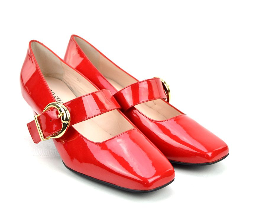 7eeb2bd228485a The Lola In Red Patent Leather – Mary Jane 60s Style Ladies Shoes By  Modshoes