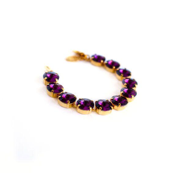 Amethyst 12mm Rivoli Crystal Bracelet Made With Swarovski Elements, Bracelet Swarovski Aquamarine, Handmade Bracelet, FREE S&H
