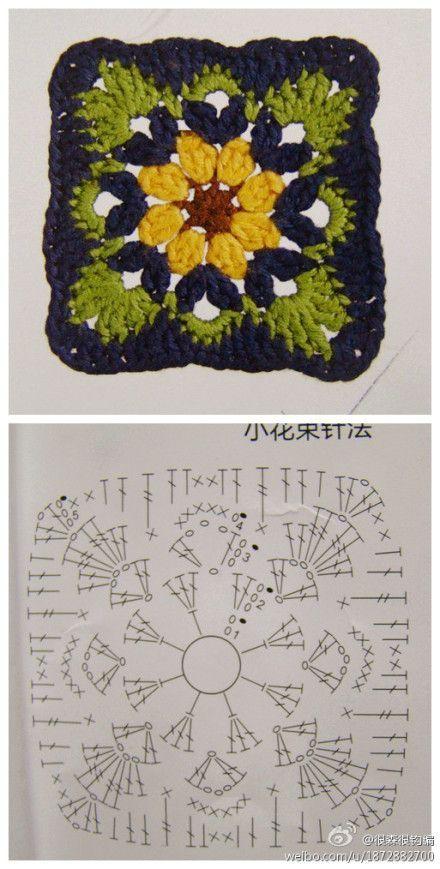 Crochet Granny - Chart ❥ 4U // hf (don\'t like color scheme but nice ...