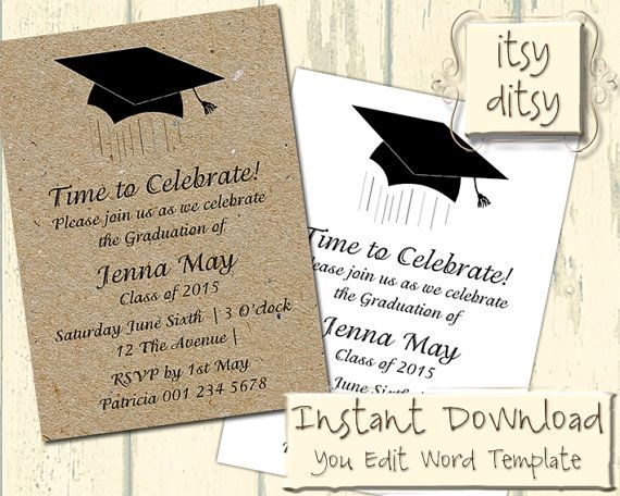 Graduation invitation template with a mortarboard design download graduation invitation template with a mortarboard design download edit print yourself printable filmwisefo Gallery