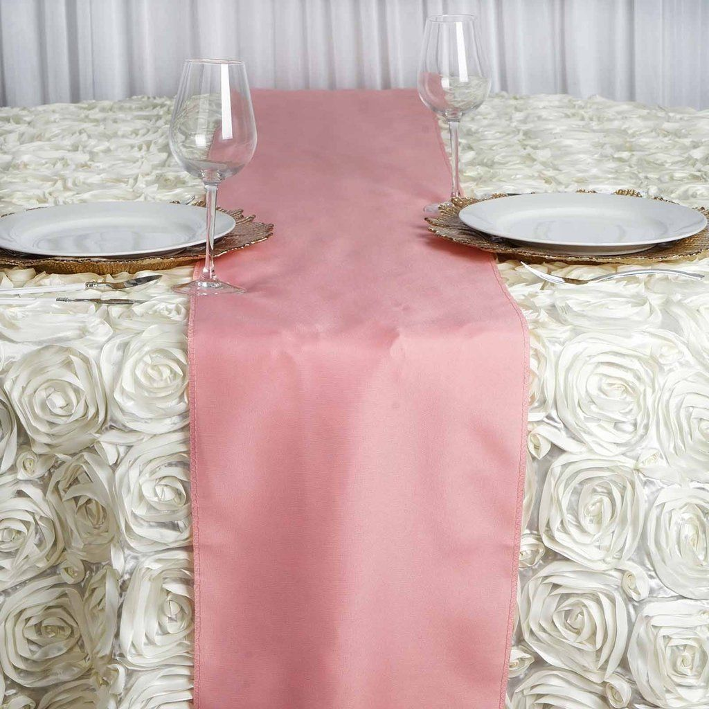 Rose Quartz Polyester Runner Table Top Wedding Catering Party Decorations 12x108 Table Runners Wedding Table Runners Pink Table