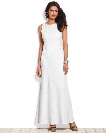 White linen maxi dresses for women